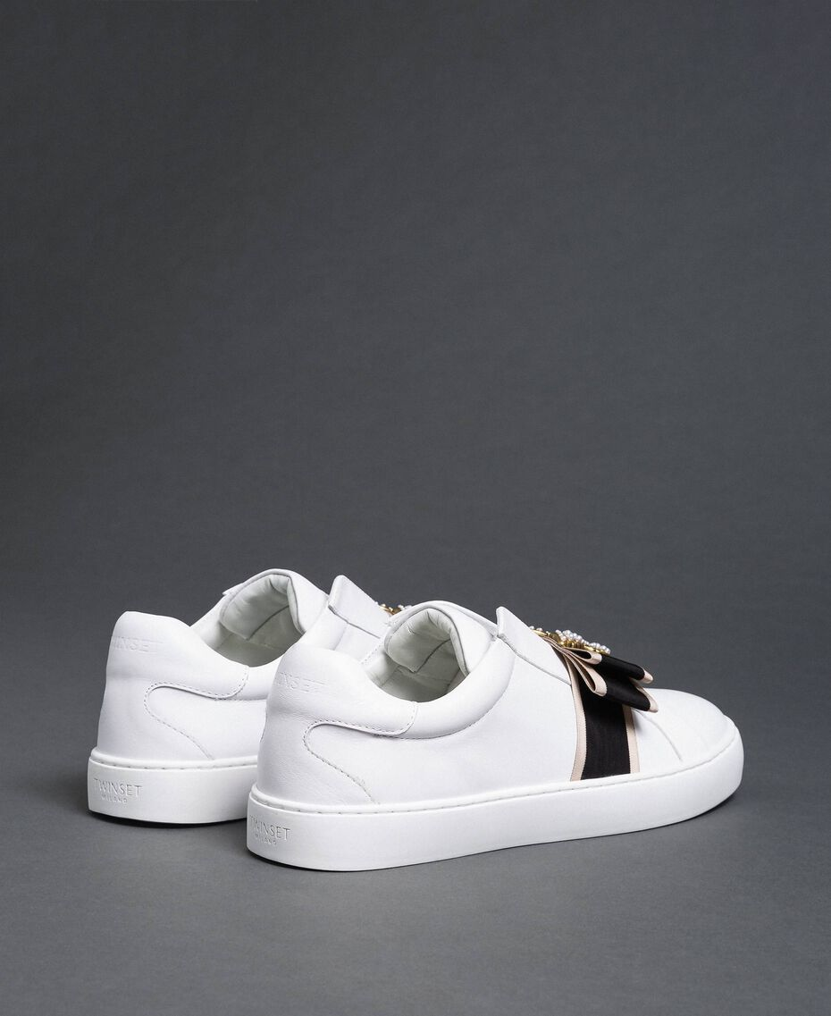 Leather trainers with embroidered band White Woman 192TCP06Q-03