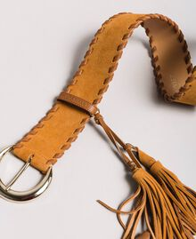 Leather belt with tassels Leather Brown Woman 191TA4307-02