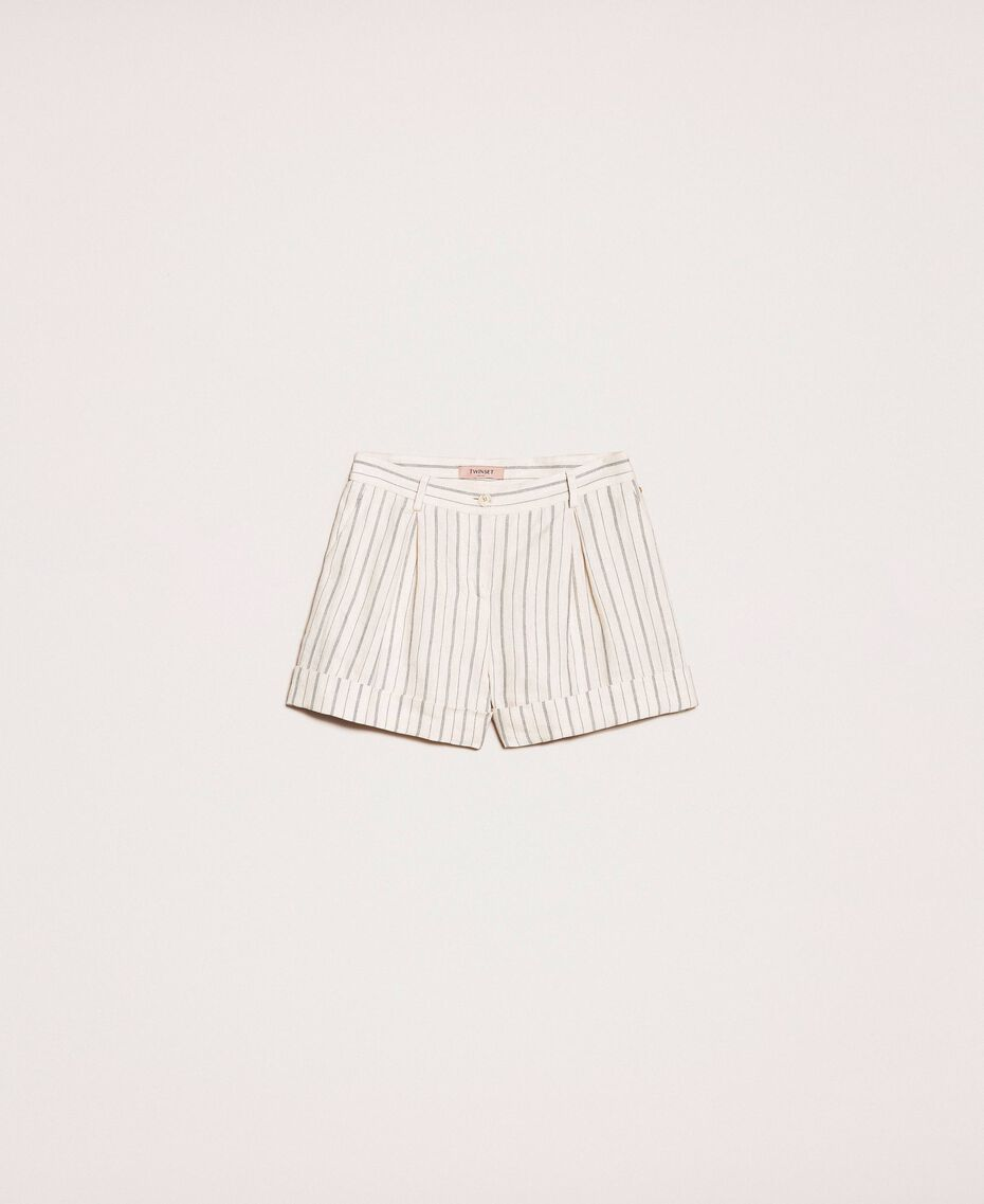 Pin stripe linen shorts Antique White Pin Stripe / Blue Woman 201TT2301-0S