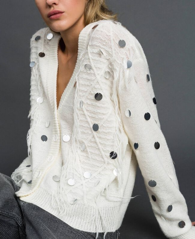 Cardigan aus Wolle und Mohair mit Pailletten Weiß Schnee Frau 192ST3021-01
