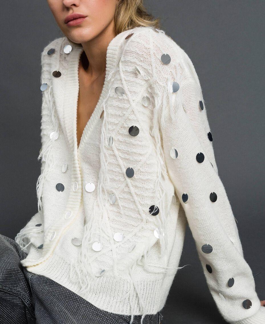 Cardigan en laine et mohair avec sequins Blanc Neige Femme 192ST3021-01