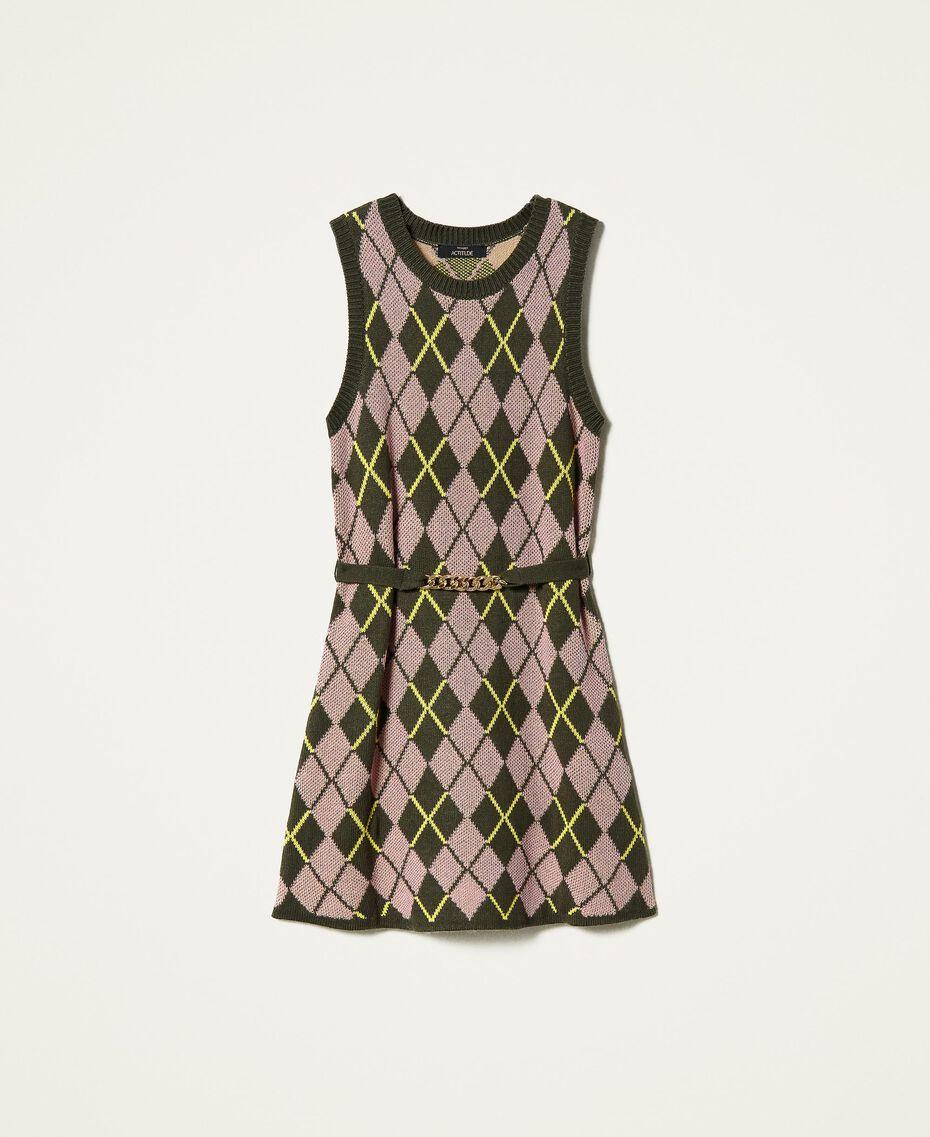 Robe jacquard «Coltan» à carreaux Multicolore Vert «Amazonie» / Rose «Wood Rose» Femme 212AP3234-0S