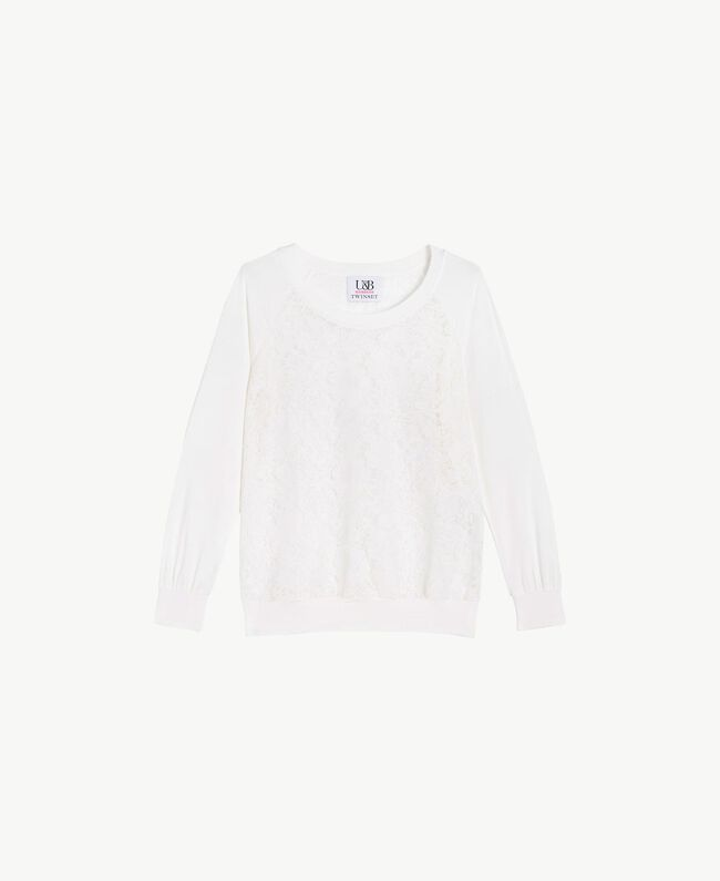 Lace sweatshirt White Woman LS89DD-01