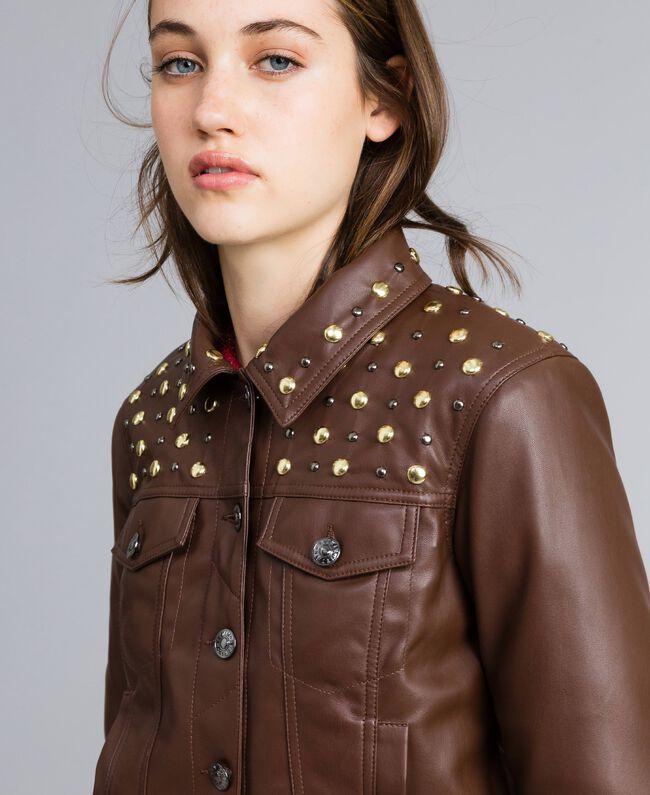 Veste en similicuir avec clous Bordeaux Acajou Femme YA82BC-04