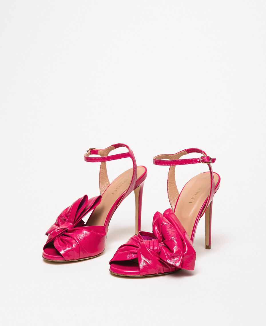 Patent leather sandals with maxi bow Black Cherry Woman 201TCP114-03