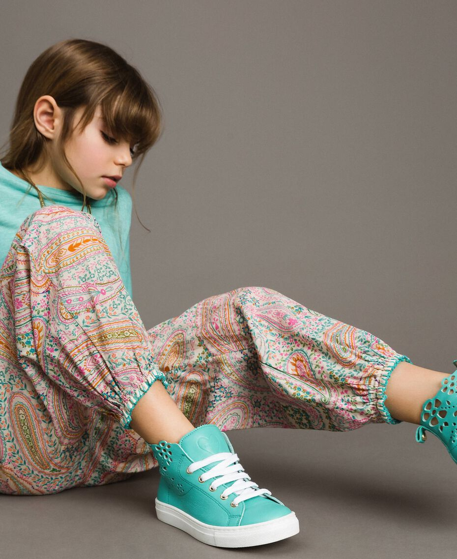 Muslin trousers with paisley print Paisley Print Child 191GJ2511-05