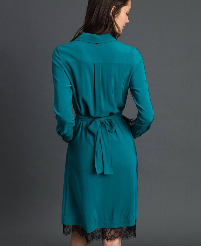 Georgette shirt dress with belt Mineral Green Pale Blue Woman 192TP2113-03