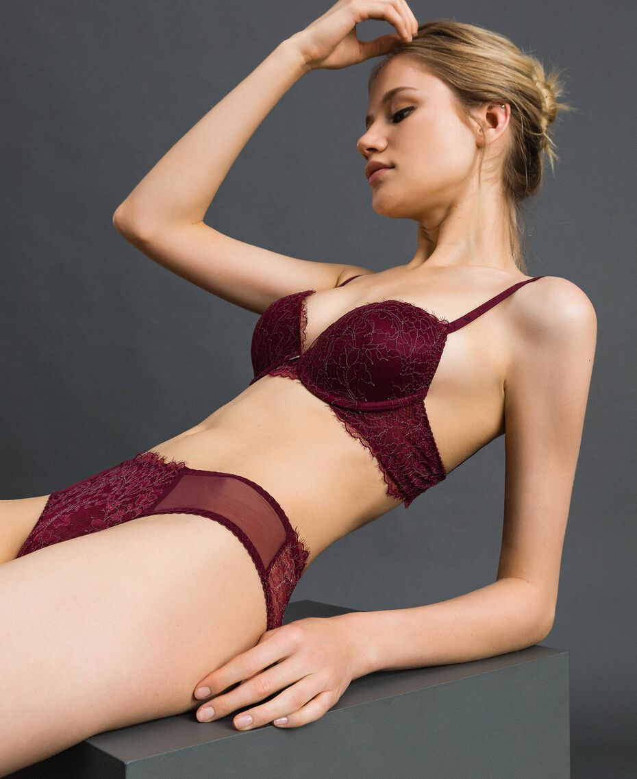 Two-tone lace push-up bra Purple Red / Lead Grey Woman 192LI6444-02