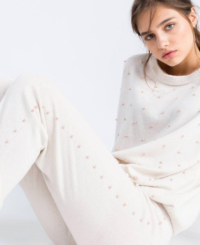 Pantalon de jogging en laine mélangée Blanc Femme IA8ALL-04