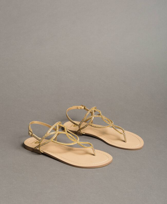 """Flat thong sandals with rhinestones """"Golden"""" Gold Woman 191LM4ZSS-01"""