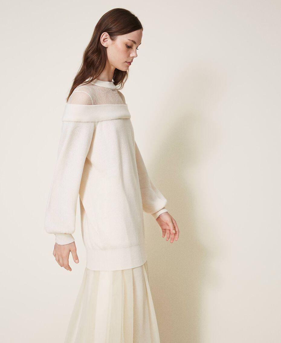 Длинная трикотажная кофта из смесовой шерсти с тюлем Бело-кремовый женщина 202MP3092-02