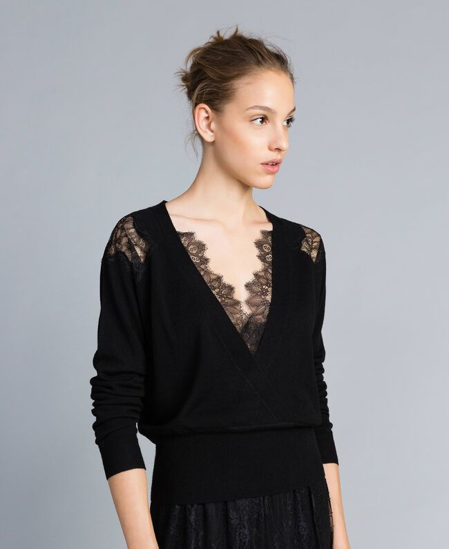 Wool blend jumper with lace inlays Black Woman PA83AC-03