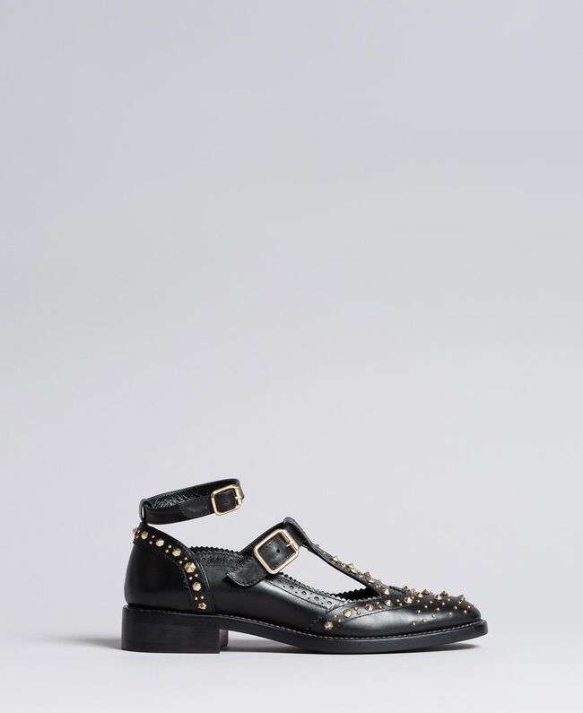 Cut-out leather shoes with studs Black Woman CA8PEU-03