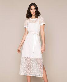"Long lace dress with belt ""Silk"" White Woman 201ST2151-02"