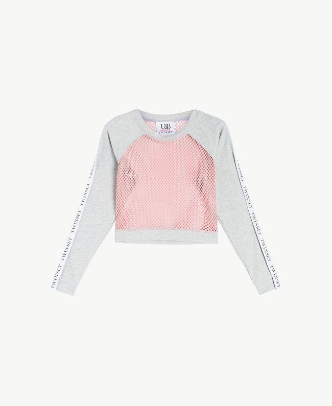 Sweat-shirt filet Bicolore Gris Moyen Mélangé / Pinkie Sugar Femme LS87AA-01