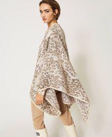 "Animal print jacquard wool cloth poncho ""Dune"" Beige Animal Print Woman 202MA432F-03"