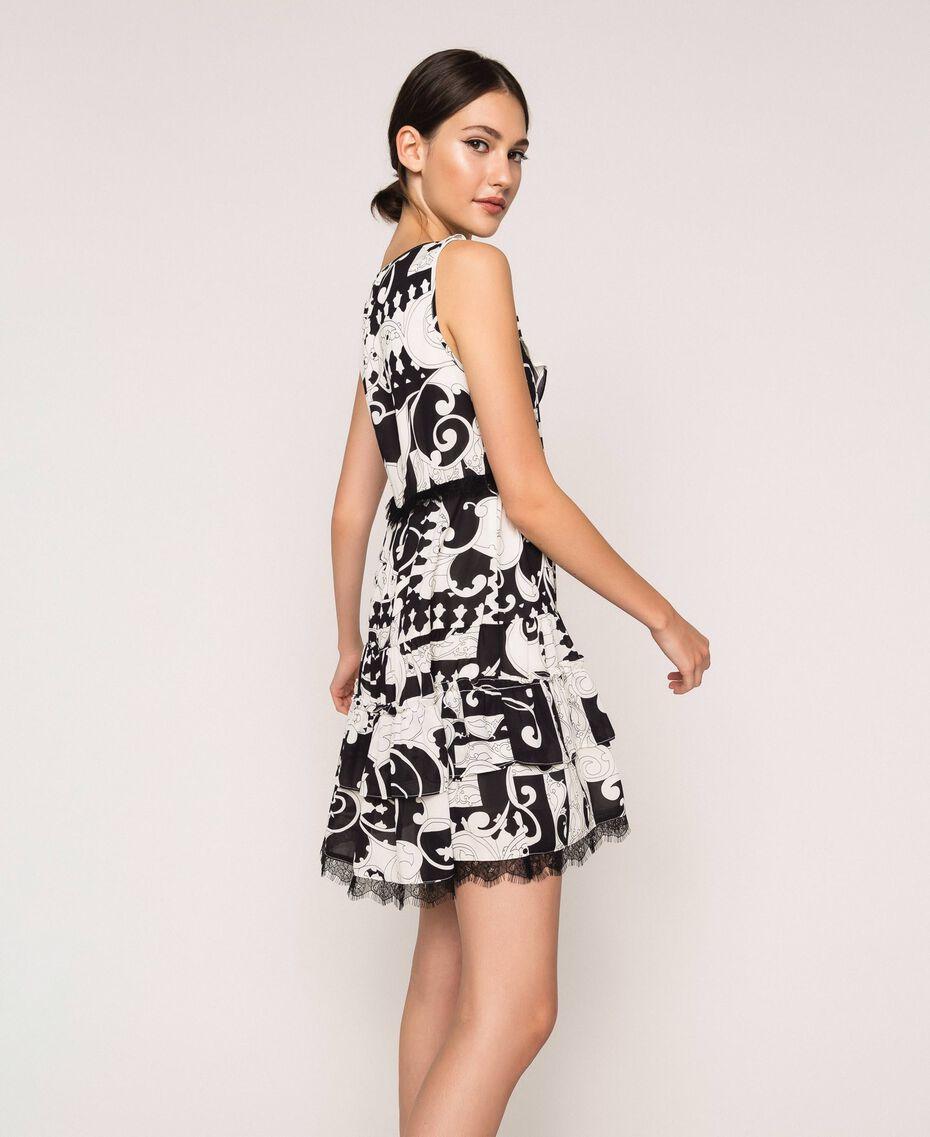 Printed georgette mini dress White Liberty Print / Black Woman 201ST213L-02