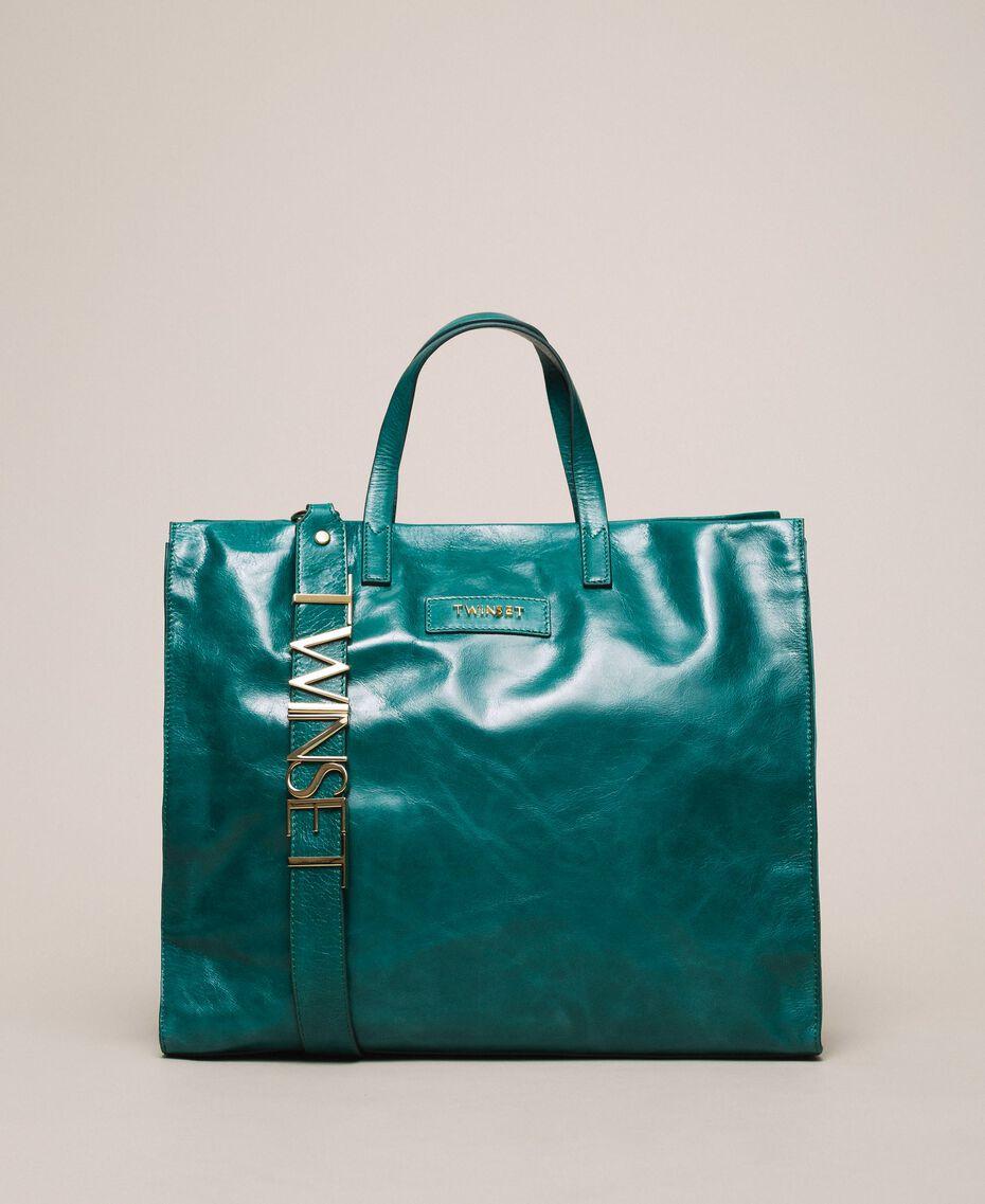Leather shopper with logo Python Woman 201TA7090-02