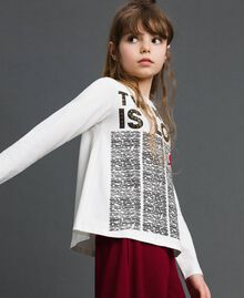 T-shirt avec imprimé et clous Imprimé Journal / Blanc Cassé Enfant 192GJ231B-02