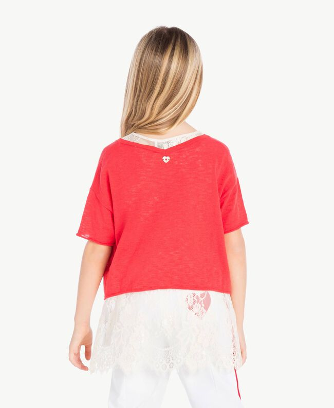 Pull et top dentelle Bicolore Rouge Grenadier / Chantilly Enfant GS83DN-04