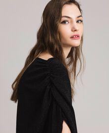 Top en lurex avec drapés et cordon coulissant Noir Femme 191MP2024-05