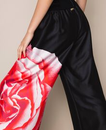 Palazzo trousers with print Black Rose Print Woman 201LB28RR-05