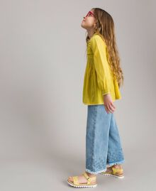 """Cotton voile blouse with embroidery """"Bamboo"""" Yellow Child 191GJ2350-02"""