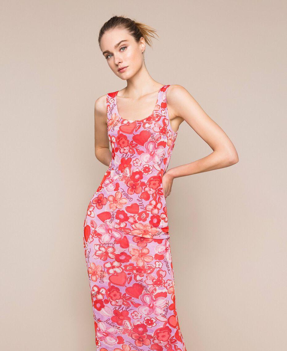 Floral tulle sheath dress Reve / Rose Print Woman 201TQ201F-01