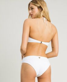 Bandeau bikini top with broderie anglaise embroidery White Woman 191LBME11-03