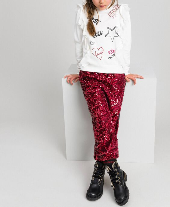 Sweatshirt with tulle frill and print