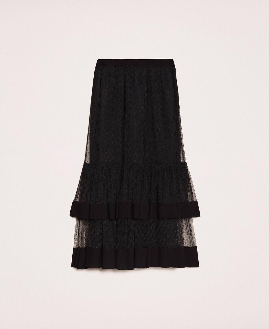 Jupe en crêpe de Chine et tulle plumetis Noir Femme 201TP2372-0S