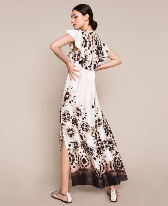 Printed satin long dress