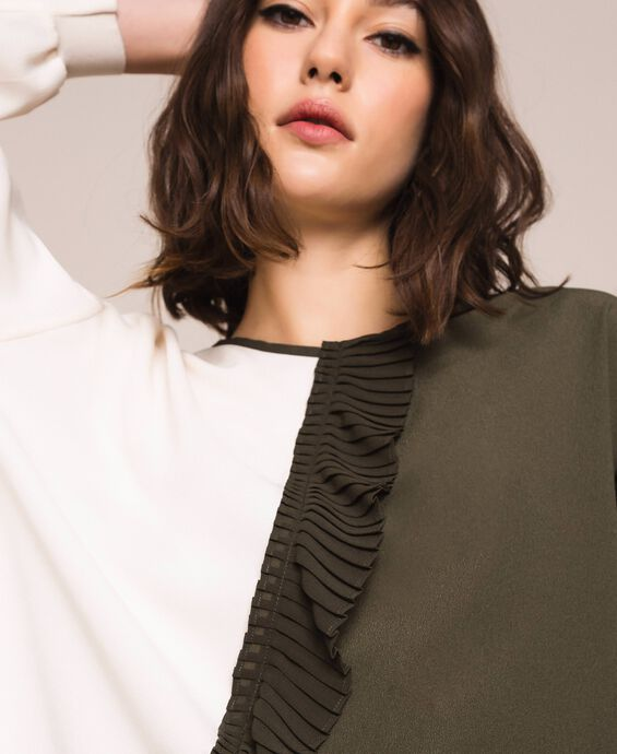 Crêpe de Chine two-tone blouse