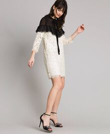 "Macramé lace two-tone dress Bicolour ""Snow"" White / Black Woman 191TP2256-02"