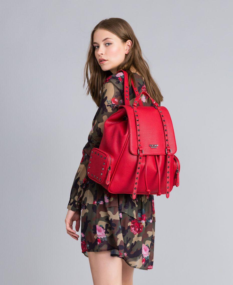 Rucksack aus Lederimitat mit Nieten Rot Mohn Frau VA8PAC-0S