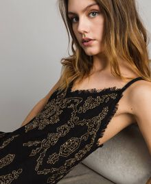 Leinen-Kleid mit Perlen und Pailletten Schwarz Frau 191TT2063-01