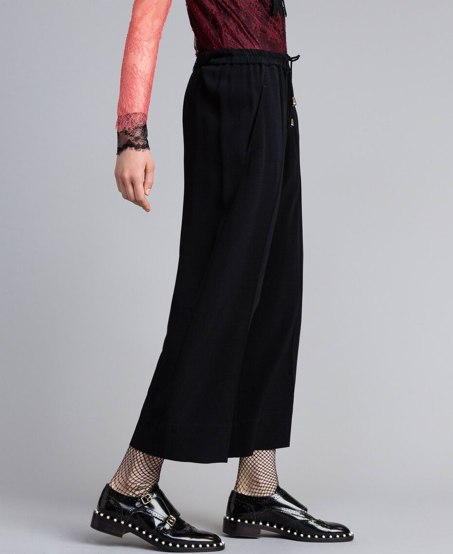 Cropped cady trousers Black Woman PA822P-02