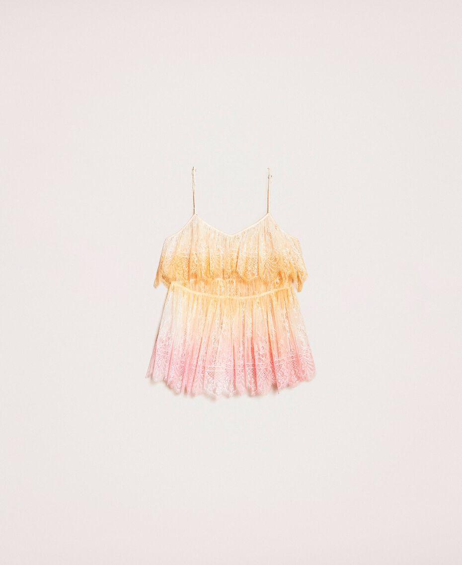 Tie-dye lace top Multicolour Tie Dye Pink Woman 201TT2280-0S