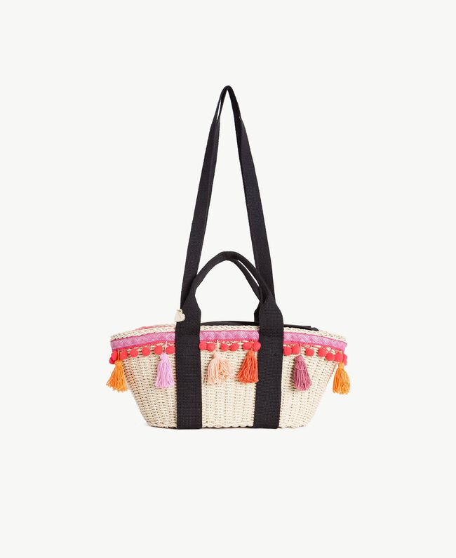 TWINSET Straw bag Multicolour Provocateur Pink / Orange / Black Woman OS8THA-01