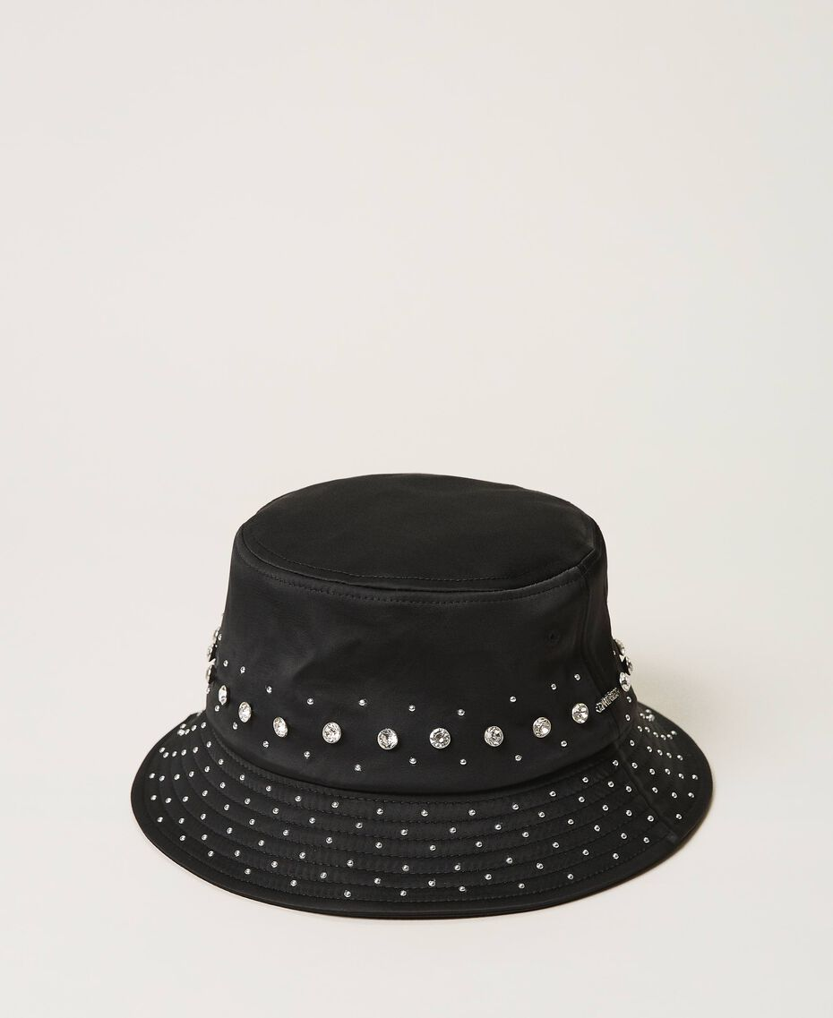 Satin hat with studs and bezels Black Woman 202TA4451-01