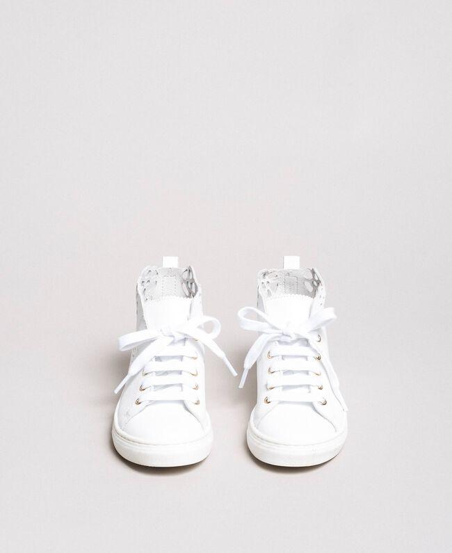 Nappa-Sneakers mit perforierten Details Weiß Kind 191GCJ172-04