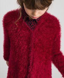 Maxi cardigan in filato effetto pelliccia Rosso Ruby Wine Bambina 192GJ3060-04