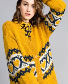 Maxi cardigan avec cœurs jacquard Golden Yellow Femme YA8311-04