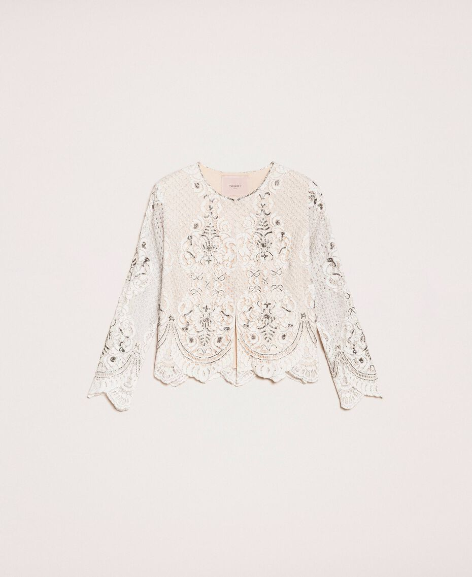 Jacke aus Spitze mit Stickereien Elfenbein Frau 201TP2460-0S