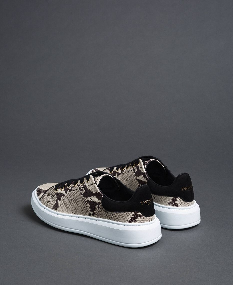 Sneakers in pelle con stampa animalier Stampa Pitone Roccia Donna 192TCT118-02