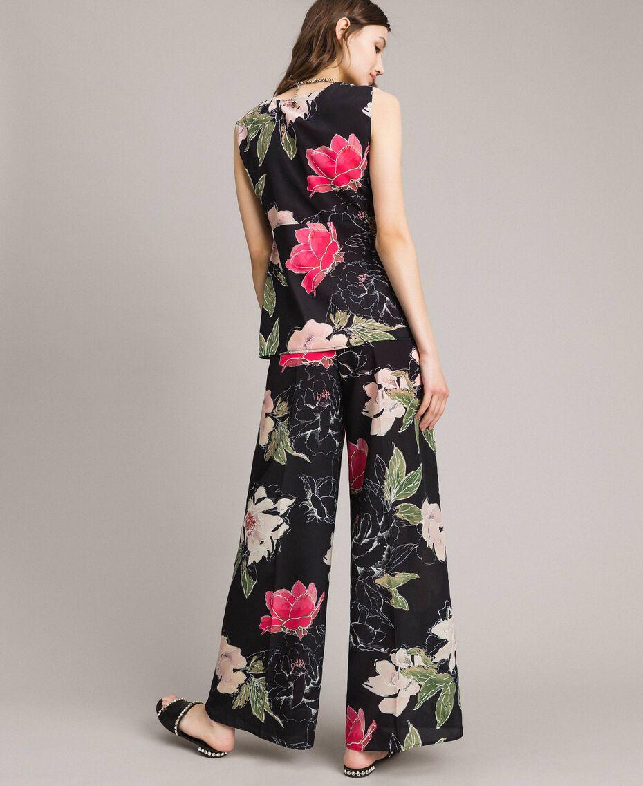 Floral print crêpe de Chine top All Over Black Flowers Print Woman 191MT2213-03