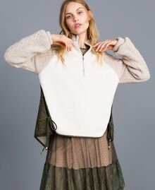 Blouson en faux mouton et nylon Bicolore Vert Forêt / Blanc Neige Femme TA82BP-01