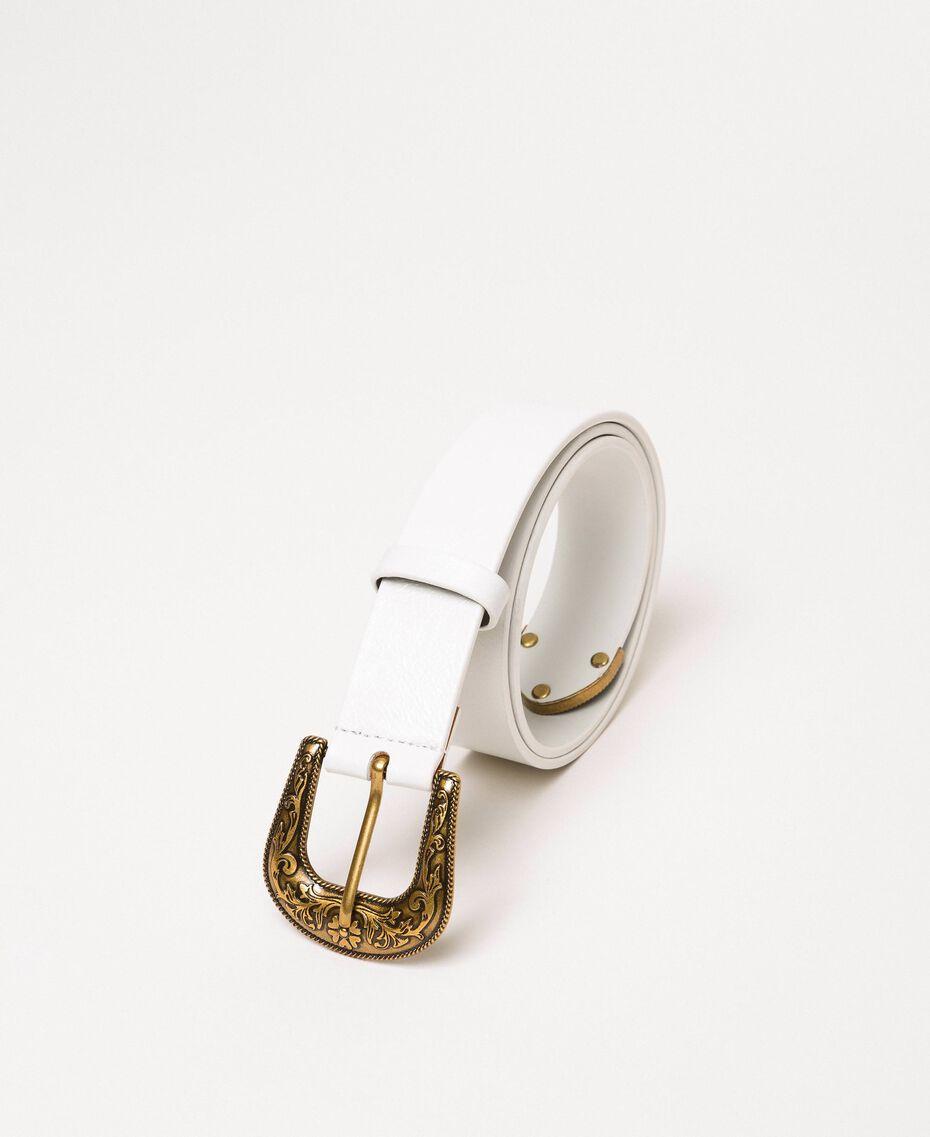 Кожаный ремень с ковбойской пряжкой Слоновая кость женщина 201TA4344-01