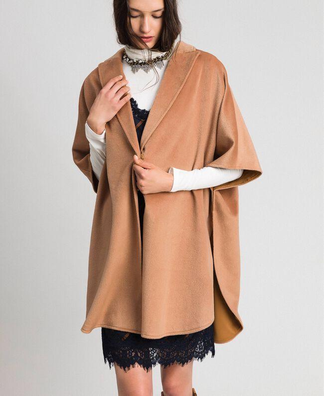 """Velour wool cape """"Camel Skin"""" Beige Woman 192LI2DDD-01"""