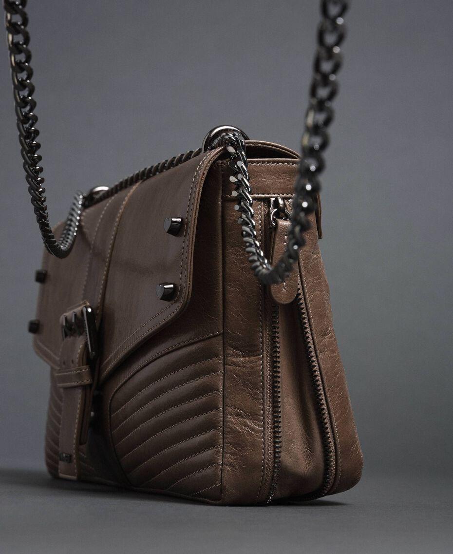 Grand sac à bandoulière Rebel en cuir Tourterelle Femme 192TA7233-02